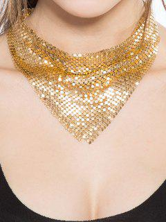 Geometrical Paillettes Embellished Choker Necklace - Golden