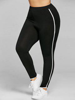 Pantalon Moulant Grande Taille à Rayures Latérales - Noir 3xl
