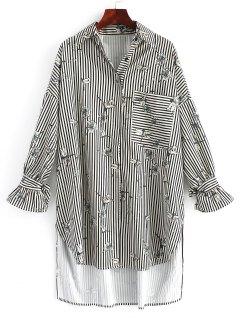 Floral Stripes High Low Shirt Dress - Stripe S