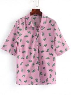 Button Down Cactus Shirt - Pinkish Purple L