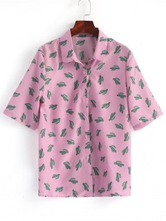 Button Down Cactus Shirt - Pinkish Purple 2xl