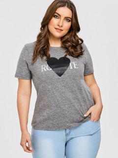 Heart Print Plus Size T-shirt - Gray 3xl