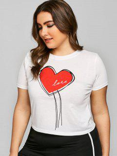 Plus Size Heart Graphic Valentine T-shirt - White 4xl