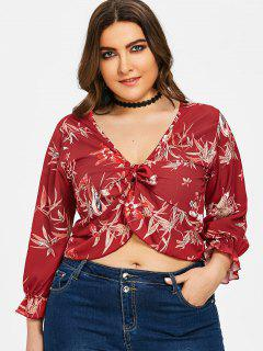 Leaf Floral Knot Plus Size Blouse - Wine Red 3xl