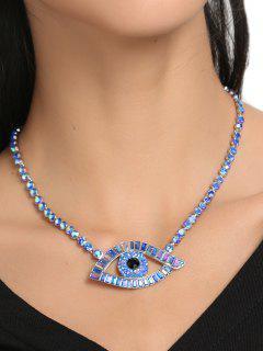 Sparkly Rhinestone Eye Collarbone Necklace - Blue