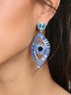 Sparkly Rhinestoned Eye Party Earrings - Blue