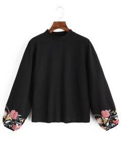 Lantern Sleeve Floral Sweatshirt - Black M