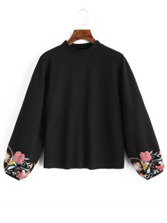 Sweat-shirt Floral à Manches Lanternes - Noir L