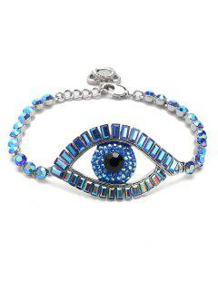 Sparkly Rhinestoned Eye Chain Bracelet - Blue