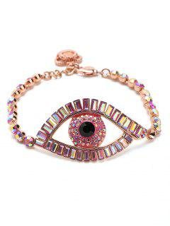 Sparkly Rhinestoned Eye Chain Bracelet - Pink