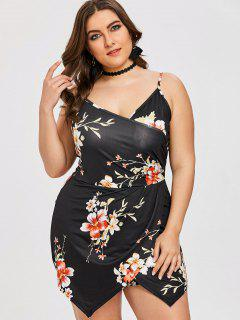 Floral Plus Size Skort Romper - Black 2xl