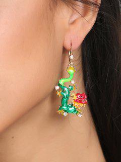 Retro Chinese Dragon Hoop Drop Earrings - Green