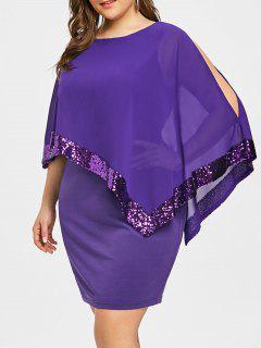 Vestido Overlay De Lentejuelas Talla Grande - Púrpura 5xl