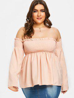 Smocked Off L'épaule Plus Size Blouse - Rose Abricot 5xl