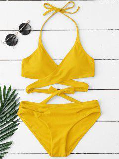 Gepolsterter Halter Wrap Bikini Set - Gelb M