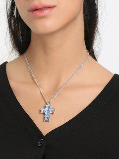 Rhinestone Crucifix Collarbone Pendant Necklace - Blue