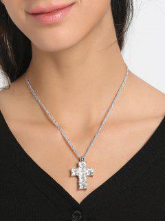 Collier Pendentif En Strass Crucifix Collarbone - Blanc