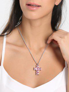 Collar De Colgante De Hueso De Crucifijo De Diamantes De Imitación - Rosa