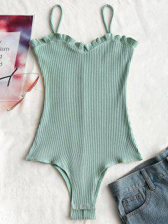 Rüschen Gerippte Cami Bodysuit - Hellgrün M