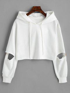 Cut Out Sleeve Crop Hoodie - White M