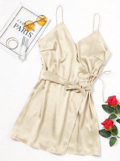 Self Tie Bowknot Belted Cami Dress - Champagne S