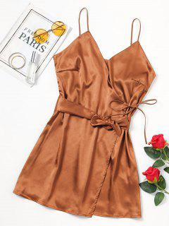 Self Tie Bowknot Belted Cami Dress - Gold Brown Xl
