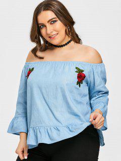 Blouse Volantée Florale à épaules Dénudées Grande Taille - Denim Bleu 3xl