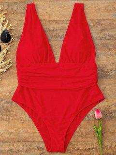 Plus Size Plunge Swimsuit - Bright Red 2xl