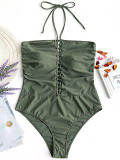 Plus Size Lattice Front Halter One Piece Swimsuit - Army Green 2xl