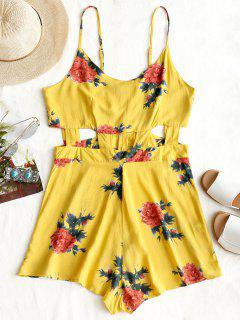 Flower Print Cami Cut Out Romper - Yellow L