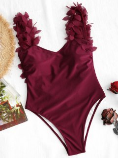 Stereo Petal One Piece Swimsuit - Deep Red S