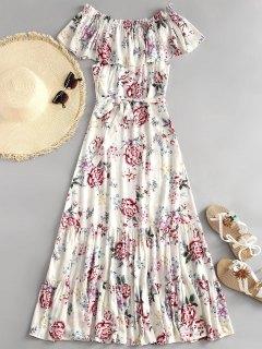 Robe Maxi à Épaules Dénudées Et à Volants Motif Floral  - Floral L
