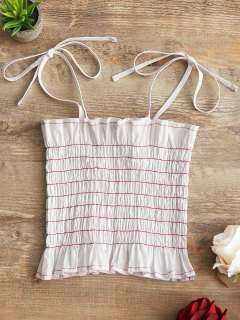 Contrast Cami Smocked Tank Top - White S