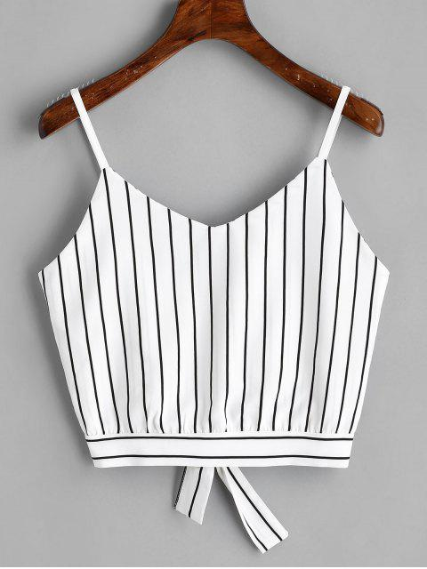 hot Bowknot Stripes Cut Out Cropped Tank Top - STRIPE S Mobile