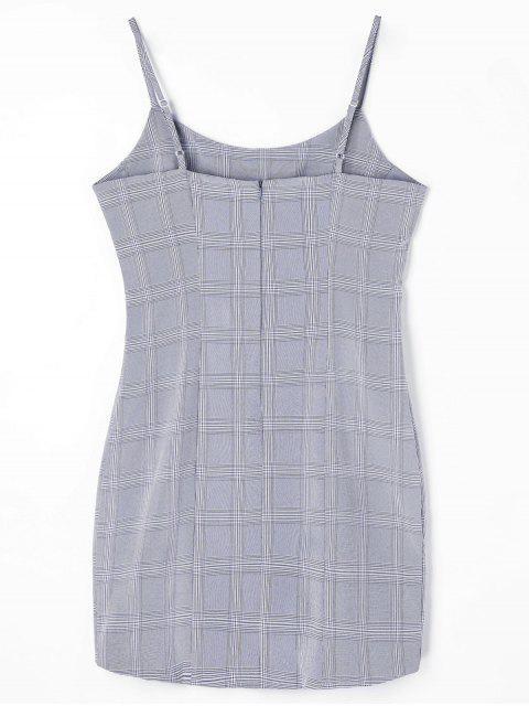 online Checked Mini Slip Dress - GRAY XL Mobile