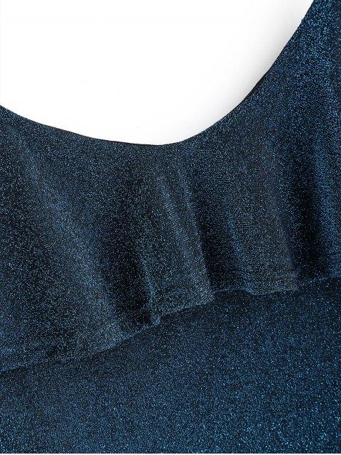Regata Cami Brilhante com Babados - Azul Um Tamanho Mobile