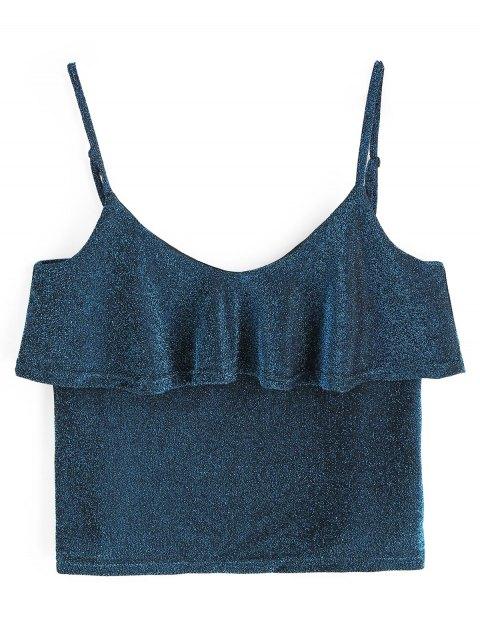 Cami Glänzendes Rüschen Tank Top - Blau Eine Größe Mobile