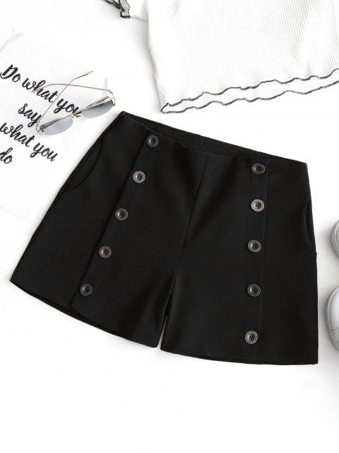fashion High Waist Button Embellished Shorts - BLACK M Mobile