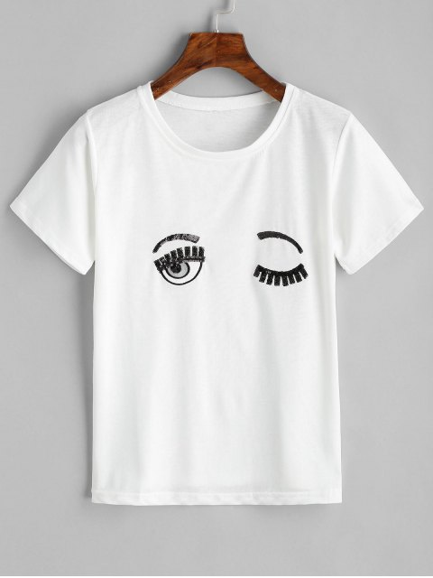 Ojos Top de lentejuelas bordado - Blanco XL Mobile