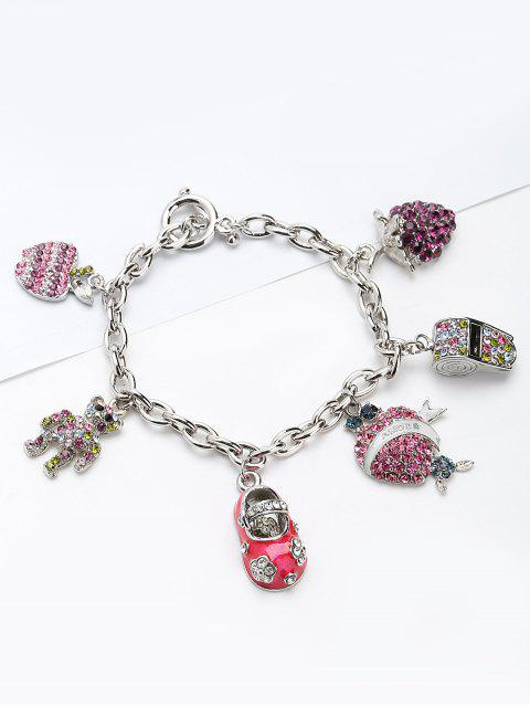 women's Rhinestone Whistling Bear Grape Charm Bracelet - PINK  Mobile