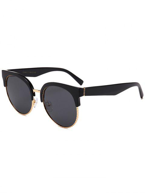 buy Unique Round Circle Cat Eye Sunglasses - DOUBLE BLACK  Mobile