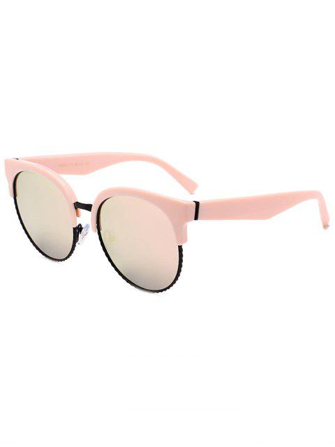 ladies Unique Round Circle Cat Eye Sunglasses - PINK FRAME+PINK LENS  Mobile