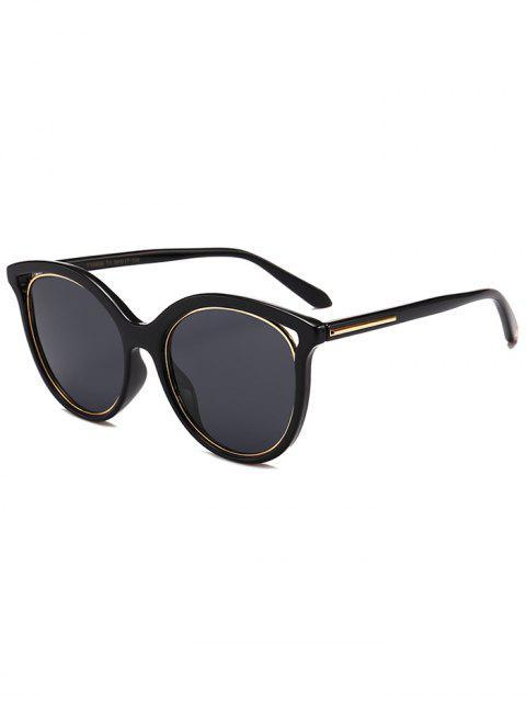 Metall Full Frame Cat Eye Sonnenbrille Sonnenbrille - Doppel Schwarz  Mobile