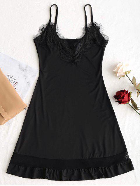Mini vestido con volantes y encaje - Negro L Mobile