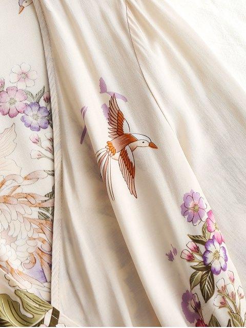Vestido mini de manga larga con estampado floral - Albaricoque L Mobile