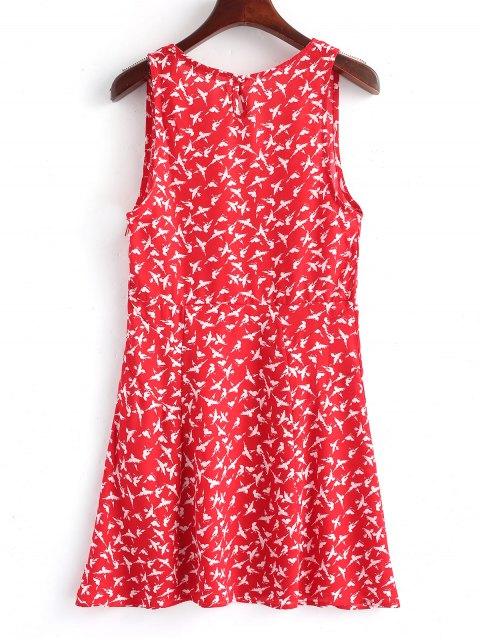 Mini vestido con cremallera lateral Cross Over Birds - Rojo L Mobile
