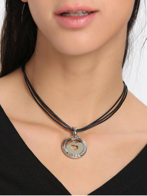 women Faux Leather Rope Heart Round Collarbone Necklace - BLACK  Mobile