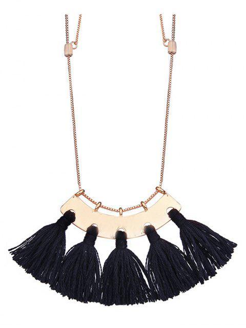 Legierung Fransen Anhänger Halskette - Schwarz  Mobile