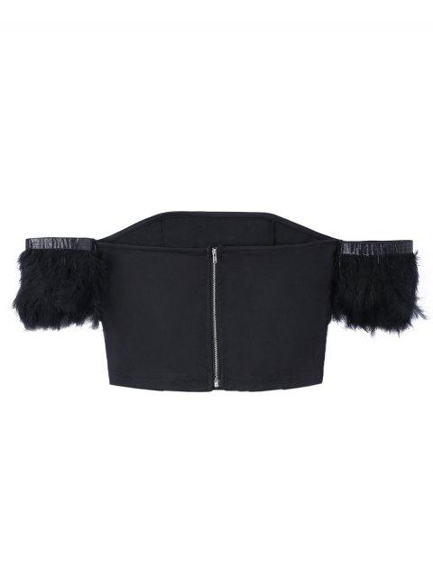 fashion Feather Off The Shoulder Crop Top - BLACK XL Mobile