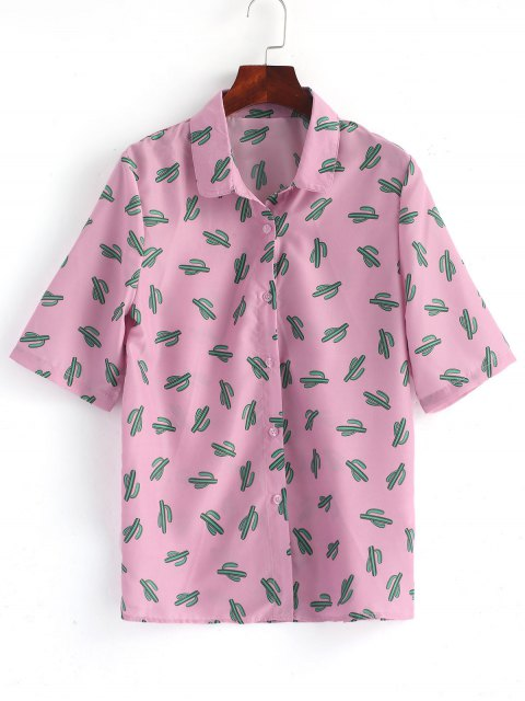 shop Button Down Cactus Shirt - PINKISH PURPLE 2XL Mobile